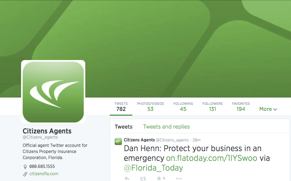 Citizens Property Insurance | Agent Twitter Page